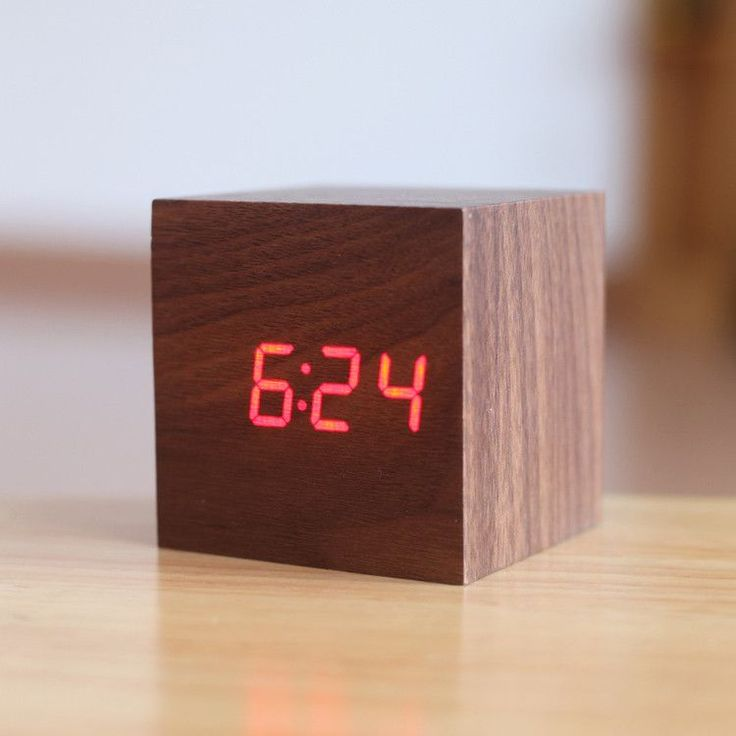exquisite square digital alarm clock 4 color led display thermometer sound control wood led clock home