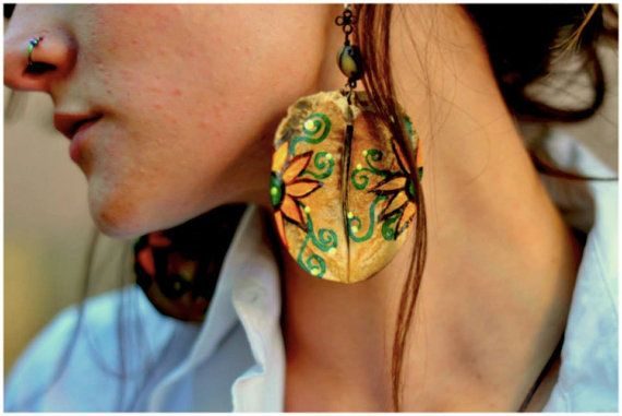 Natural Seed Earings with handpainted designs. by AnatmaArte, $25.00