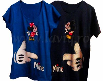 Minnie & mickey mouse Tricou barbatesc/dama, 100% bumbac, pictat manual in culori textile. www.laviq.ro www.facebook.com/pages/LaviQ/206808016028814