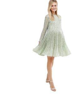 Зеленое нарядное платье для будущих мам Asos Maternity