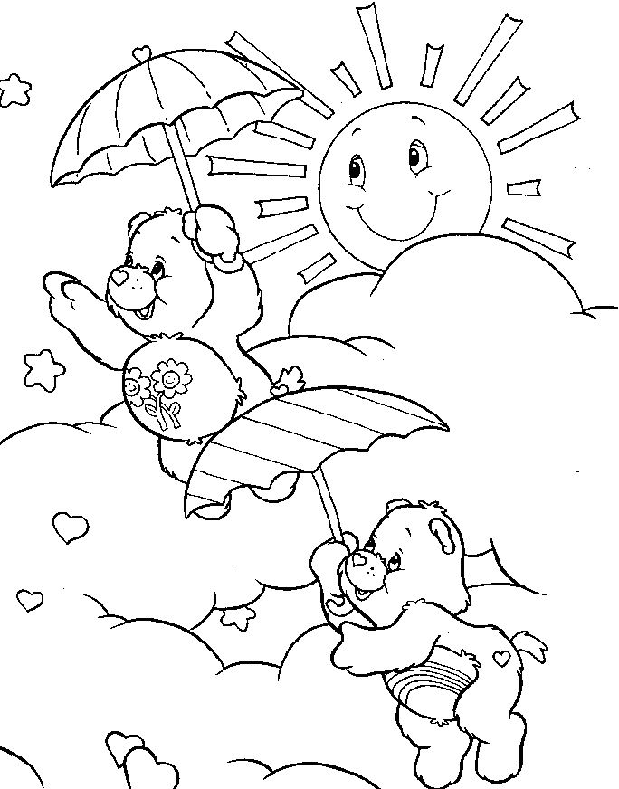 Sunny Day Coloring Pages Care Bear Playing On A
