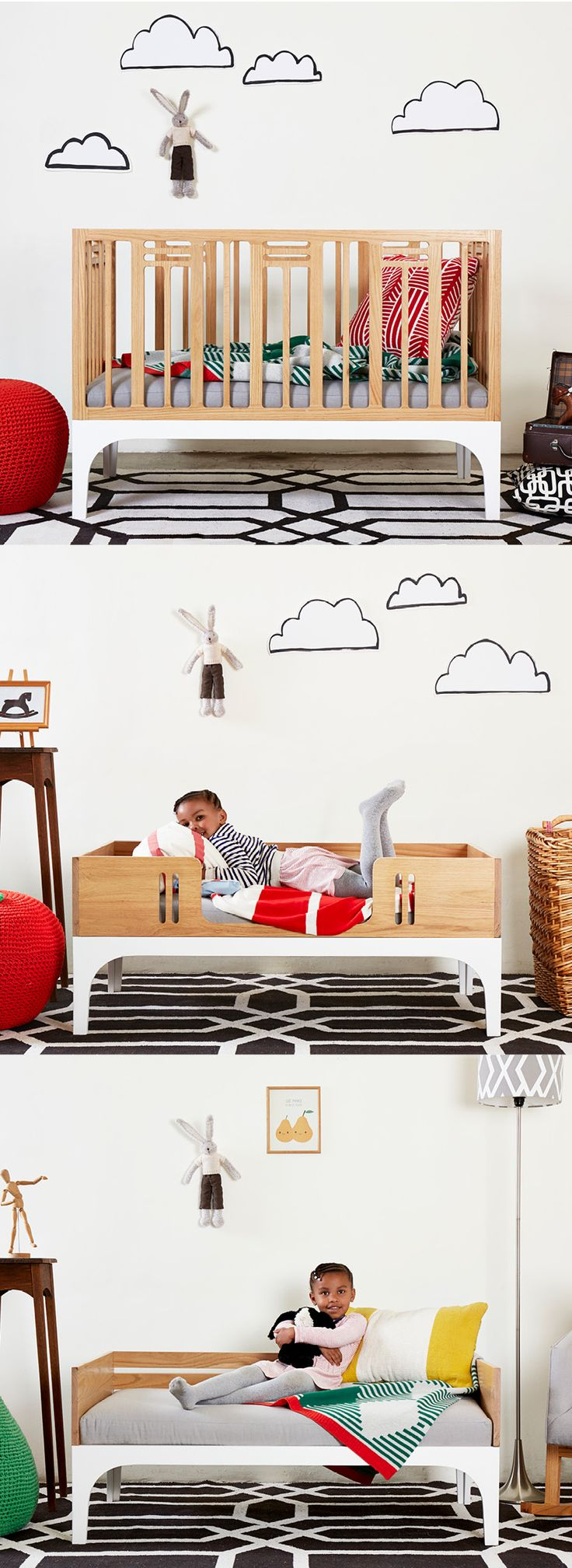 COCO COT WITH CONVERSION KIT:  The Coco cot is bright and spirited with its functional bars transformed into a decorative pattern. The Conversion Kit allows the cot to convert into a toddler bed, after which it converts again, to become a daybed.  Made from solid wood it's sized for a child but designed with you in mind.  For prices and orders email info@bunnyandclyde.co.za