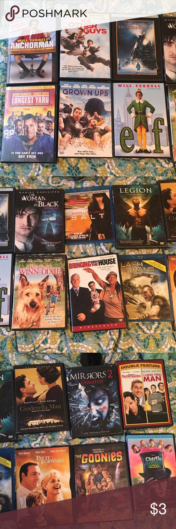 Movies! Read Description for Pricing $3 each or 4 for $10. Will sell ALL together for $35. Movies available; Anchorman, Longest Yard, The Other Guys, Grown Ups, Polar Express, Elf, Woman in Black, Because of Winn Dixie, Salt (Blue ray), Bringing Down the House, Legion, Clash of the Titans (Blue ray), Cinderella Man, Pay it Forward, Mirrors 2, The Goonies, Dinner for Schmucks/I Love You Man, Charlie and the Chocolate Factory Other