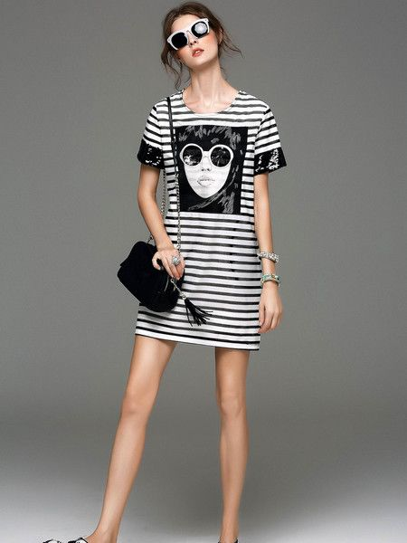 Print Embroidery Cotton Mini dress #girl #stylewe #amazing #fashion