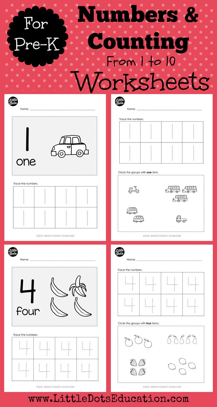 Download numbers worksheets and activities for pre-k or preschool level. Practice to trace and counting one - to - one correspondence from 1 to 10.