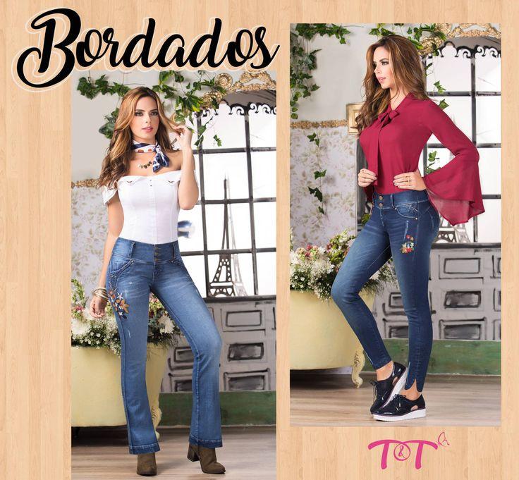 Los bordados se reinventan con sutileza para adornar camisas y jeans con un ligero toque floral convirtiendose en tendencia este 2017 ¿Qué tal si los llevas en tu jeans levanatcola de siempre? #JeansLevantacola #TytJeans #Bordados2017 Ref. Pantalón Mijares Ref. Pantalón Aurora