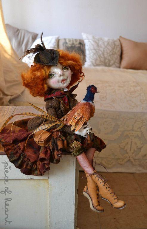 Купить каждый охотник желает знать... - рыжий, охота, фазан, твид, кукла, интерьерная кукла, весна