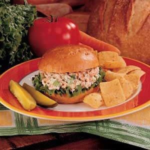 Salmon Salad Sandwiches I love these things! I might make them with a little less cream cheese and mayo next time though.