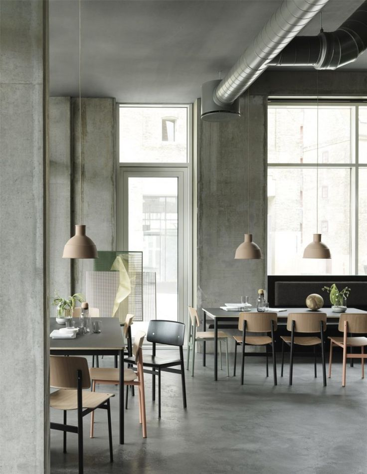 These press images from the latest Muuto collection in a restaurant setting look very inviting. I like the concrete and brick flooring and walls combined with the soft green of the bar and the oak furniture pieces.