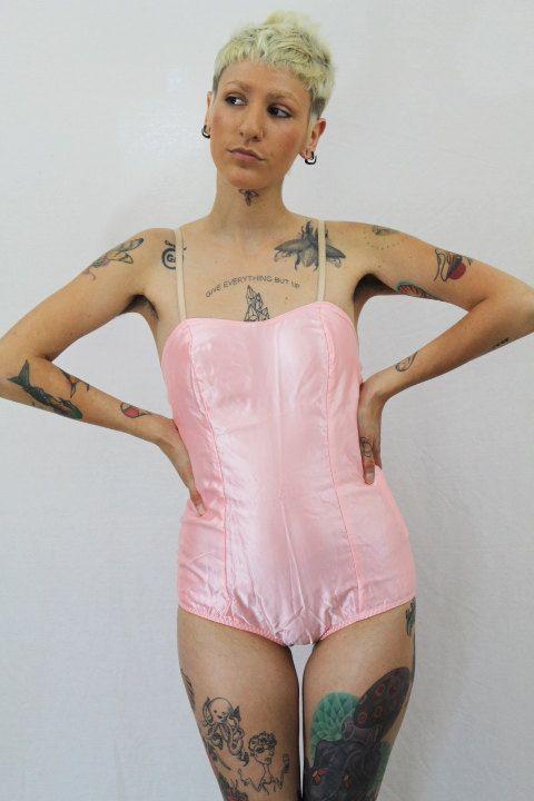 Vintage Pink Leotard Dancewear Bodysuit Satin One Piece