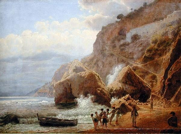 Italian Coastal Landscape, 1844 (oil on paper laid down on canvas) by Jakob Alt
