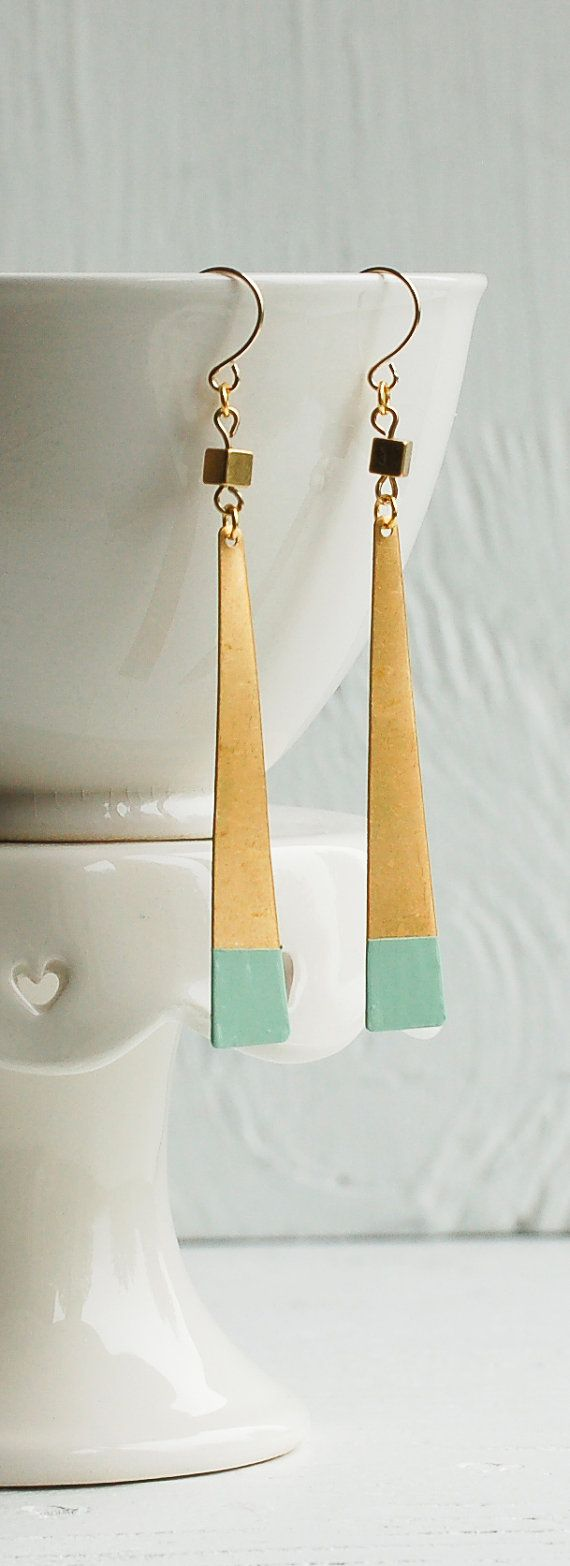 Dipped Geometric EARRINGS Hand Painted