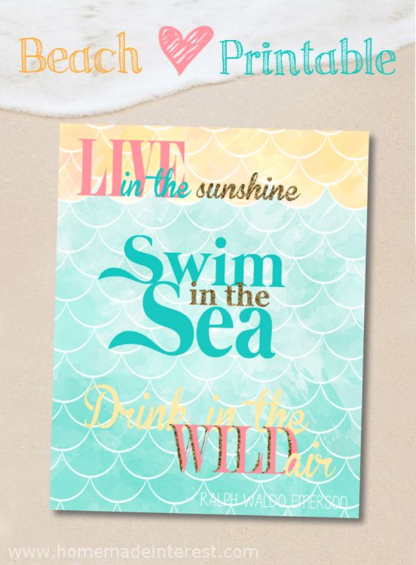 A printable for anyone who loves the beach {www.typicallysimple.com}  #printable #beach #summer