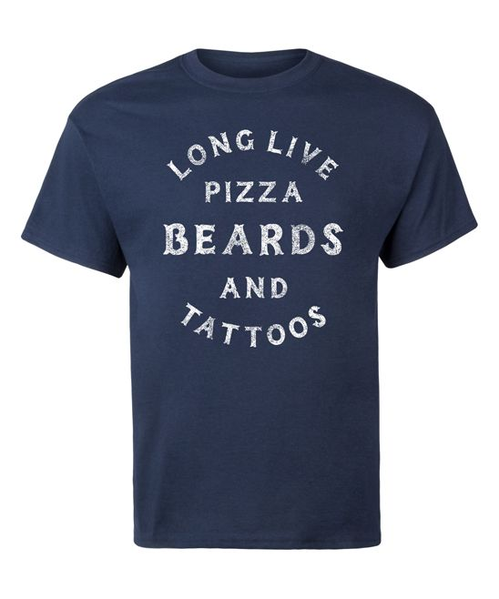 Navy 'Long Live Pizza Beards & Tattoos' Tee - Men's Regular