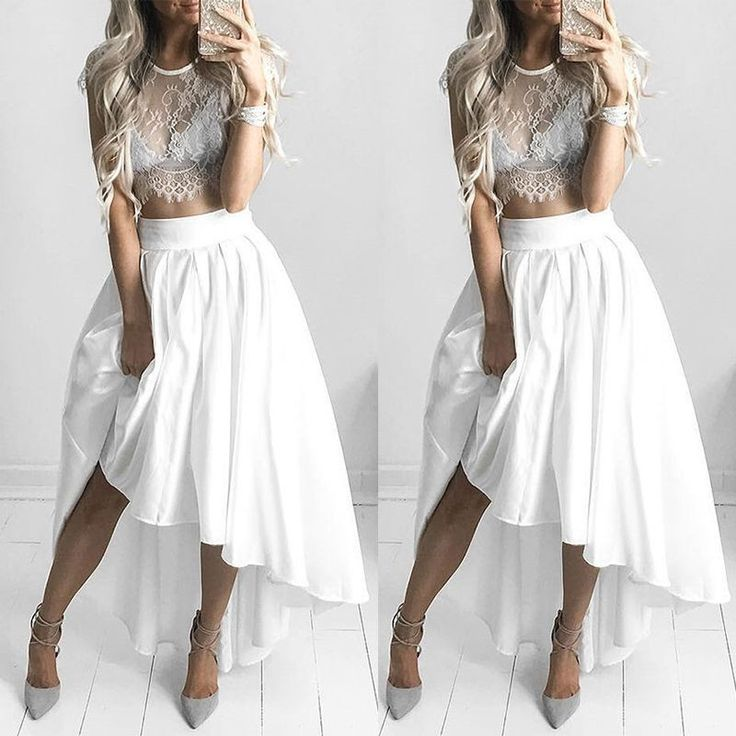 Gorgeous White Lace and Chiffon Top and Skirt Set