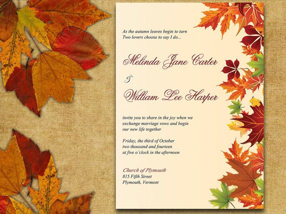 INSTANT DOWNLOAD Autumn Leaves Rustic Wedding Invite Microsoft Word Template