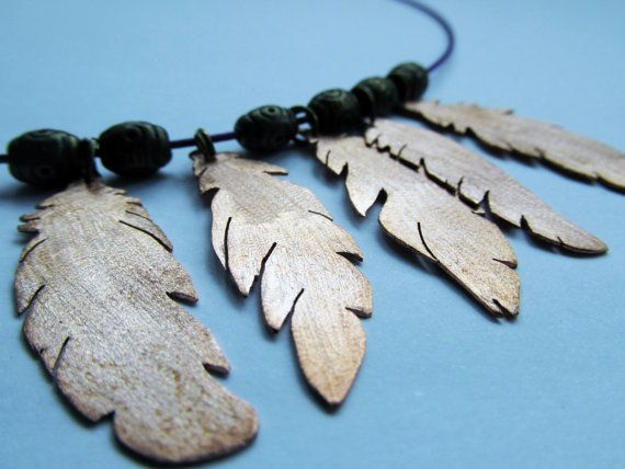 Feather copper necklace