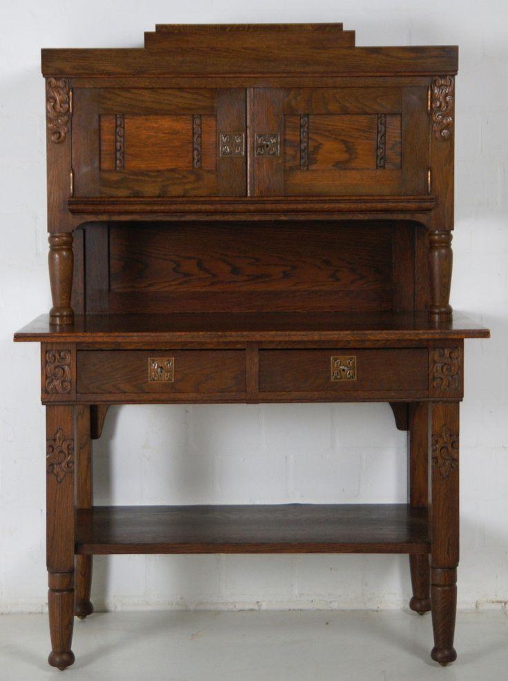 antik anrichte jugendstil eiche massiv kredenz sekret r. Black Bedroom Furniture Sets. Home Design Ideas
