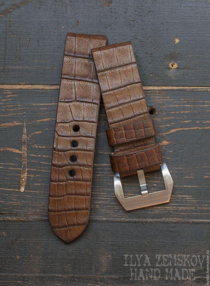 Купить Ремешок для часов из кожи каймана - коричневый, ремешок для часов, для часов, ремешок на часы