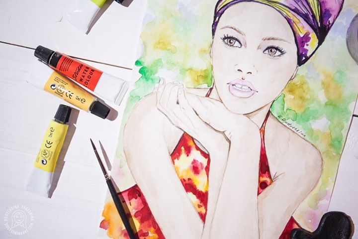 Fashion watercolor illustration by Dudyshkina Ekaterina. Fashion art with beauty girls. Watercolor painting.  Aquarelle colored splashes.  Watercolour art work. Paints palette. Art space of painter artist. The process of creation. My art tools – brushes, watercolor and oil paints, color palettes, ink. Art for home decor. Акварельная фэшн иллюстрация Дудышкиной Екатерины.  Модные иллюстрации с красивыми девушками в стиле fashion. #dudyshkina #workspace