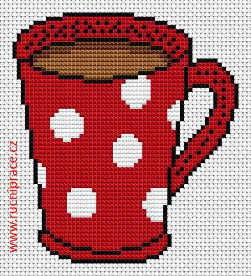 Mug, free cross stitch patterns and charts - www.free-cross-stitch.rucniprace.cz