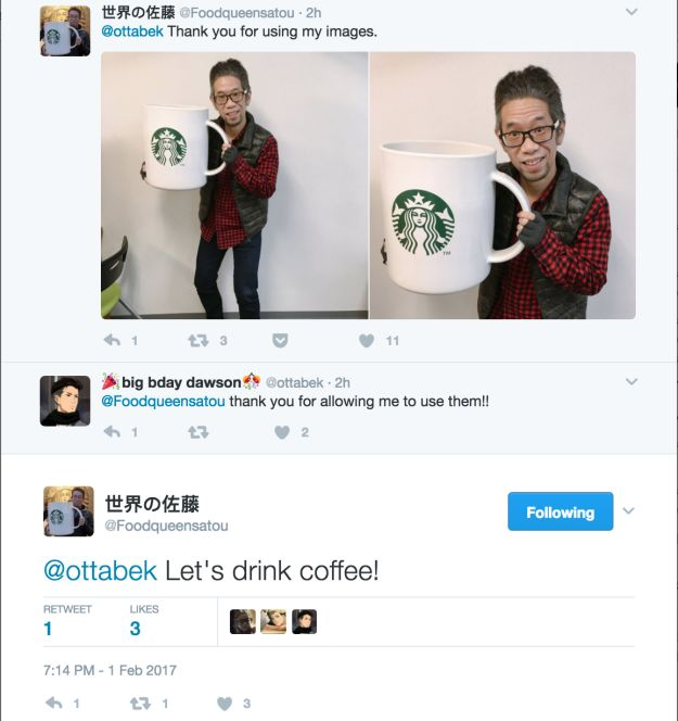 Sato then reached out to the Twitter user who posted the photos and thanked him, and the two agreed to grab coffee some time.