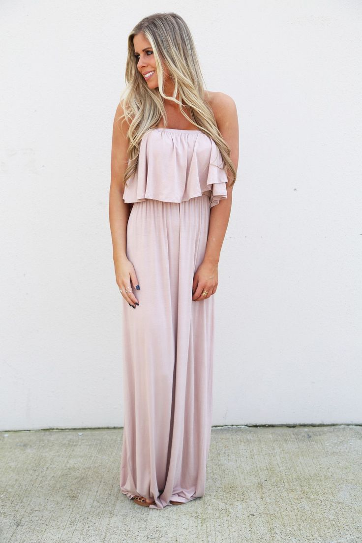 """When your summer maxi is on point, you can't help but smile! Taupe strapless maxi. Model in this photo is a 2/3 and is wearing a small. Model is also 5'6"""" tall. NOTE: Model in this photo was wearing f"""