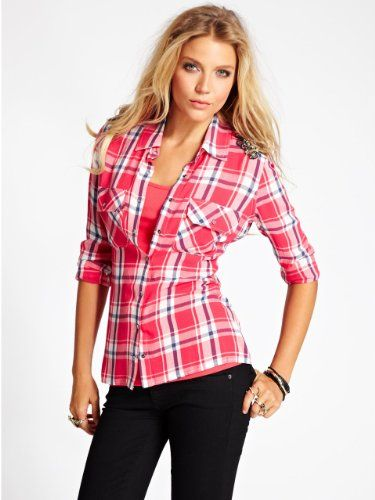 GUESS Women's Embellished Plaid Utility Shirt, ELECTRIC CRIMSON MULTI (LARGE) $89.00 #GUESS #Tops