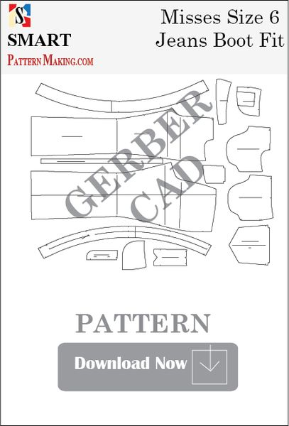 Gerber CAD Misses Jeans Boot Fit Sewing Pattern