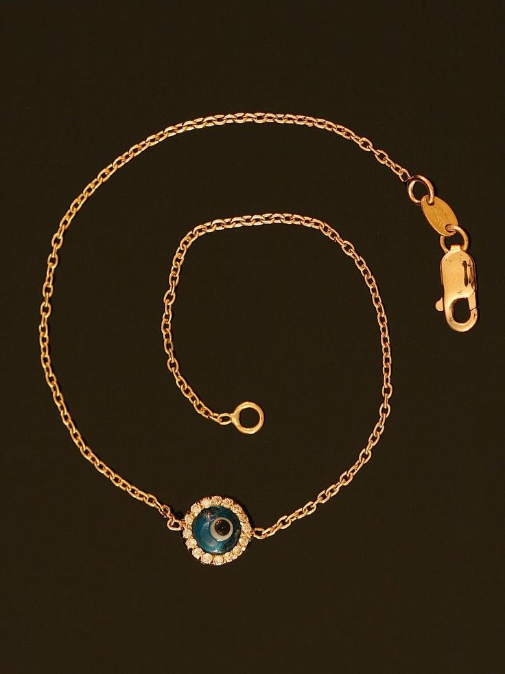 Rose Gold and Diamond Evil Eye Bracelet at London Jewelers!