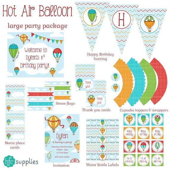 Hot Air Balloons Birthday Party Set (large) - printable party package personalised invitation bunting cupcake wrappers flags tent cards  sc 1 st  Pinterest & 61 best hfc Party Designs images on Pinterest | Flower designs ...
