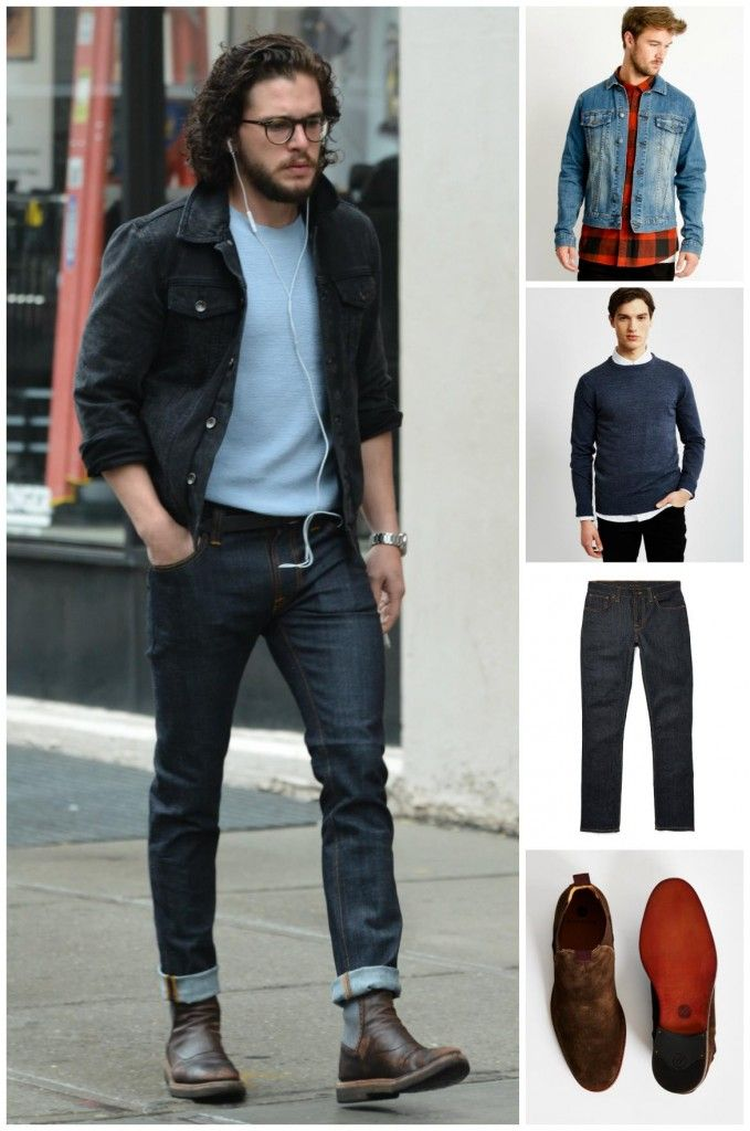 How to Dress Like Kit Harington - Cheap Monday Denim Jacket | The Idle Man Merino Wool Jumper Blue | Nudie Jeans Original Dry Navy Grim Tim | Hudson Tamper Chelsea Boots Brown