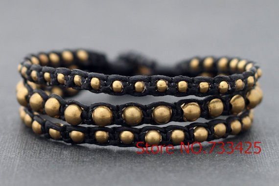 Black Brass Rocker Bracelet with black waxed cord weaved,thai style brass bracelet for women,5pcs/lots free shipping