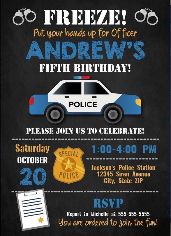 Get Free Printable Police Birthday Invitation Template