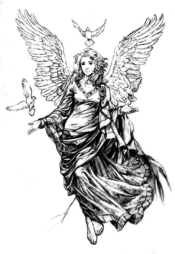 beautiful female angel tattoo flash art drawing tattoo pinterest beautiful the o 39 jays and. Black Bedroom Furniture Sets. Home Design Ideas