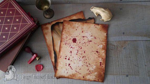 FREE SHIPPING - Parchment paper - Regular, Blood stained & Burnt (package)