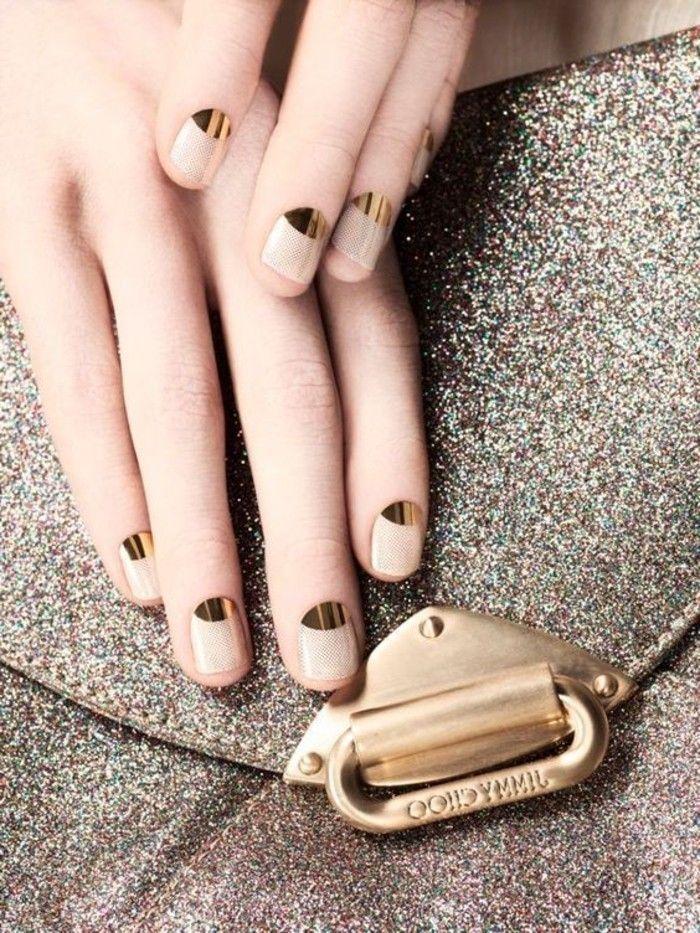 1 modele d ongle en gel en beige et en or idees deco ongles beiges