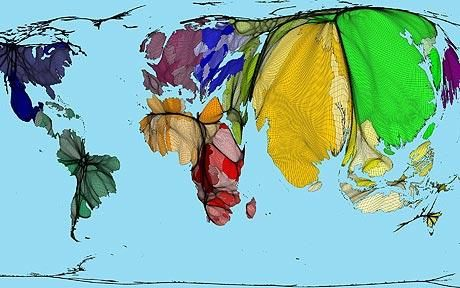 A map showing population rather than land mass: Population atlas shows world in a new light. #rethinkreality