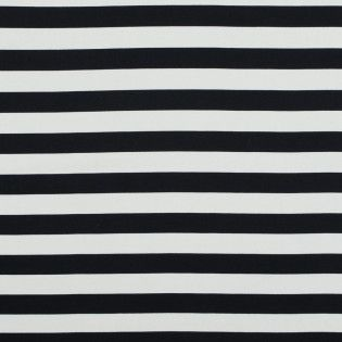 Seedpearl and Black Awning Striped Stretch Cotton Sateen