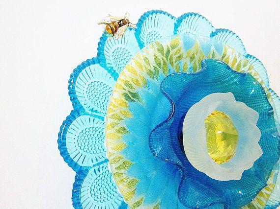 Aqua Blue Garden Art Glass Egg Plate Flower Yard Art Outdoor Garden