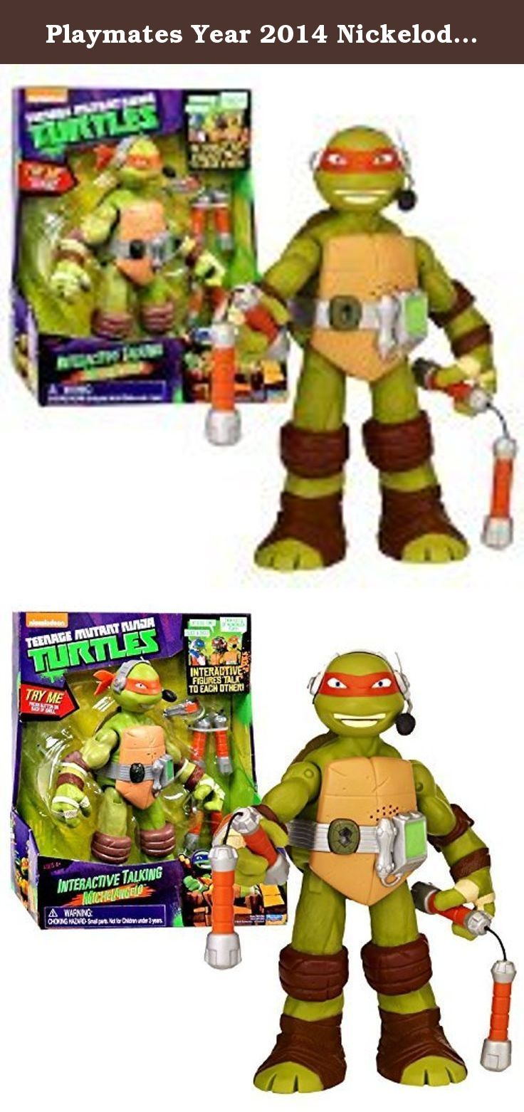 Playmates Year 2014 Nickelodeon Teenage Mutant Ninja Turtles 10 Inch Tall Electronic Action Figure - Interactive Talking MICHELANGELO with a Pair of Nunchakus. Playmates Year 2014 Nickelodeon Teenage Mutant Ninja Turtles 10 Inch Tall Electronic Action Figure - Interactive Talking RAPHAEL with a Pair of Sais.