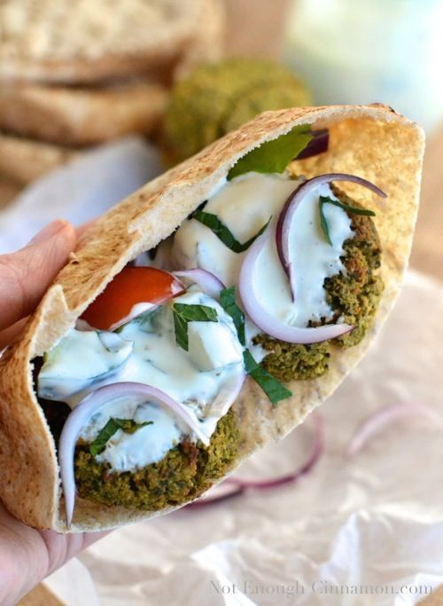Homemade baked falafel sandwich makes for a fresh and delicious vegetarian meal option!