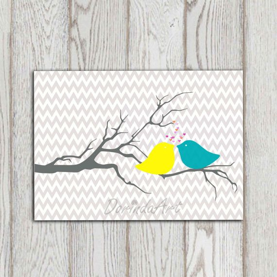 Bird printable Gray turquoise yellow Chevron by DorindaArt on Etsy