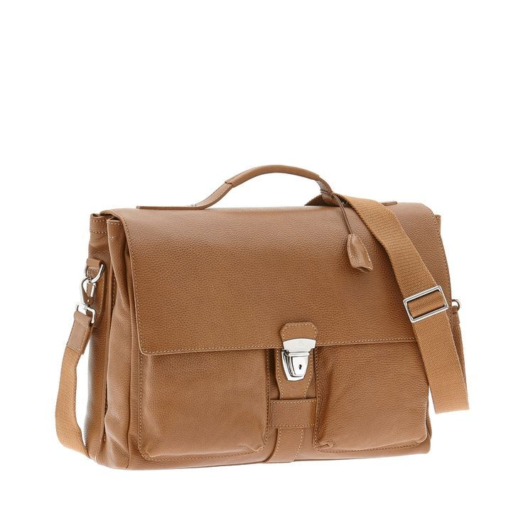 Minimal and compact briefcase from The Bridge. Its clean shape makes it a great accessory for work or travel. Padlock closure. Size 41X31X14 cm.