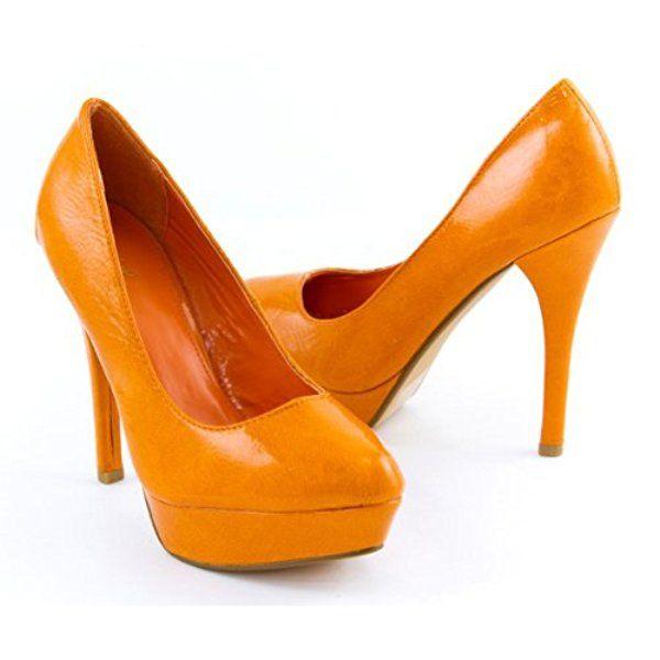 Qupid Women's Crinkled Platform Stiletto High Heel Pumps, Orange Patent Leather, 8 M US