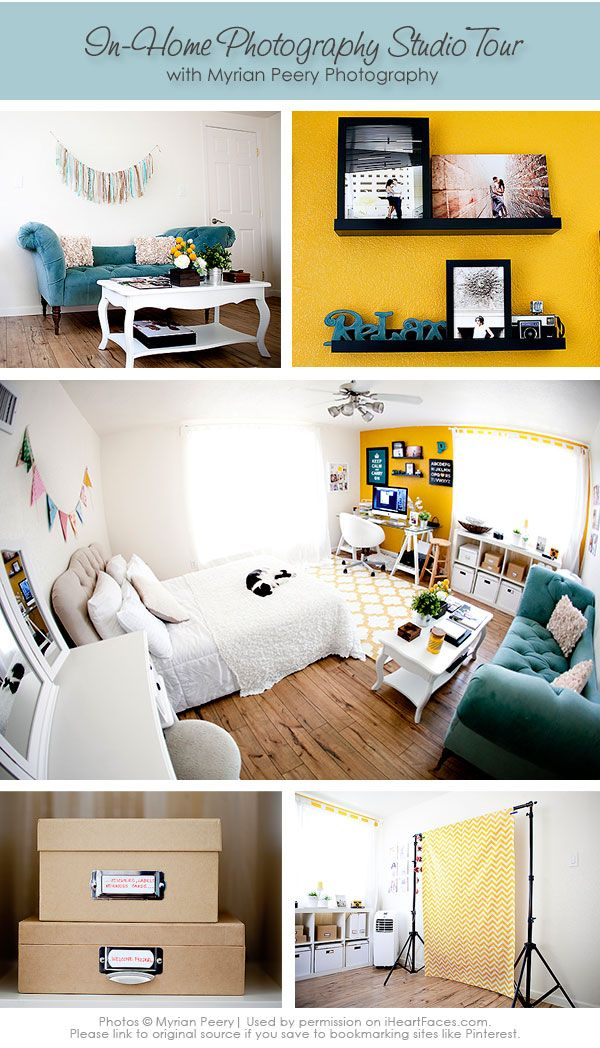 Beautiful Photography Studio Tour with Myrian Peery Photography. IHeartFaces.com #photography #home