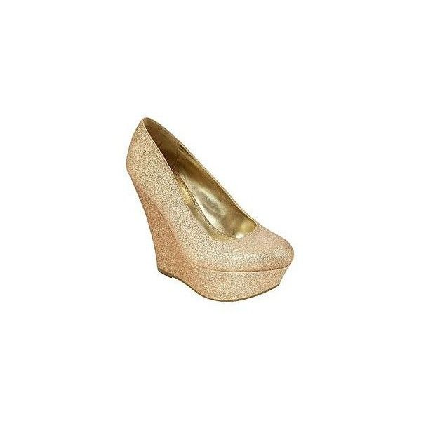 SM New York Women's Boogie Glitter Wedge Pump Gold (€19) ❤ liked on Polyvore featuring shoes, gold wedge heel shoes, gold wedges shoes, wedge sole shoes, glitter wedge shoes and yellow gold shoes