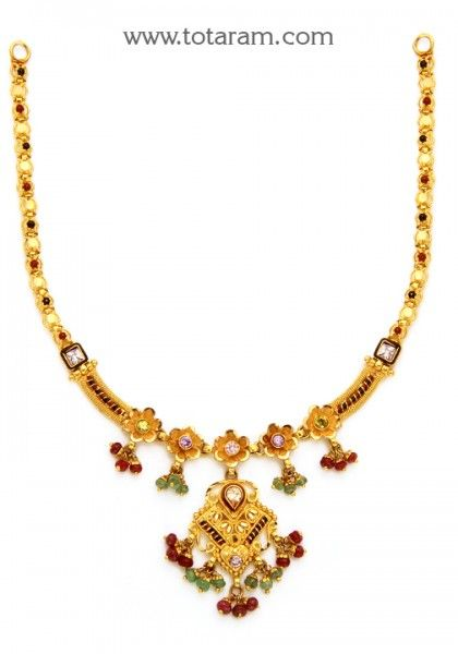 22K Gold Necklace For Women With Beads & Stones - 235-GN2086 - Buy this Latest Indian Gold Jewelry Design in 17.550 Grams for a low price of  $968.70