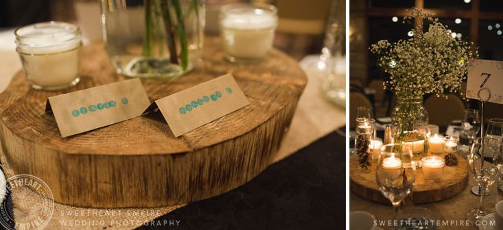Fantasy Farm - rustic wedding name cards, tree stump centrepieces. #sweetheartempirephotography
