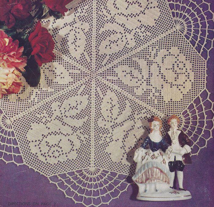crochet puppy doily | Vintage Crochet Pattern Rose Filet Doily Motif Mat | eBay